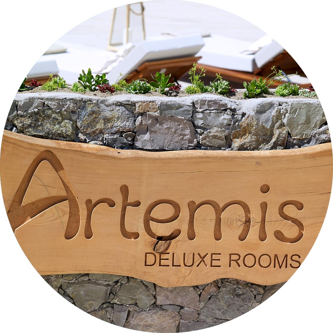 Artemis_logo_wood_decoration_Artemis_Deluxe_Rooms_Milos_island_Greece_Cyclades