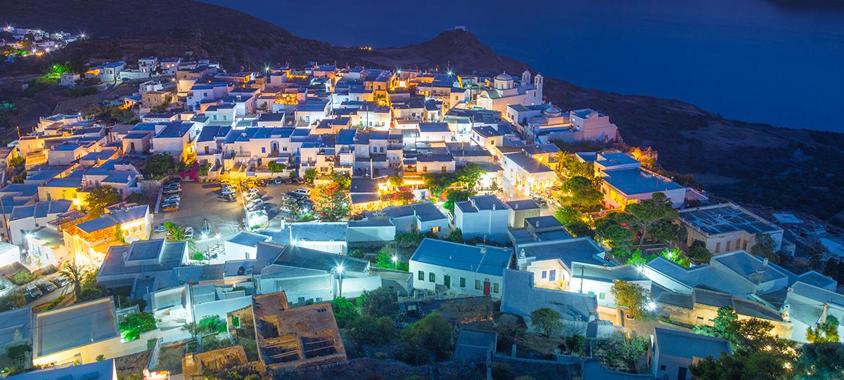 Plaka,Village,View,At,Night,Frpm,Above,,Milos,Island,,Cyclades,